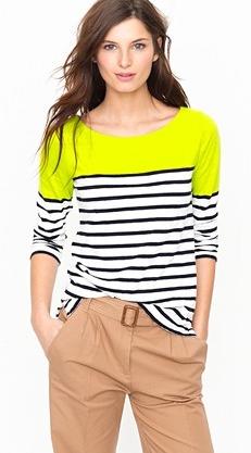 Colorblock stripe boatneck tee