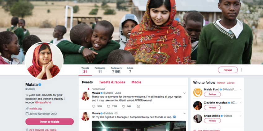 Malala is on Twitter and Everyone is Freaking Out