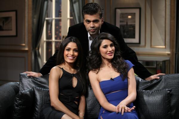 Friend Pinto and Nargis Fakhri with Karan Johar