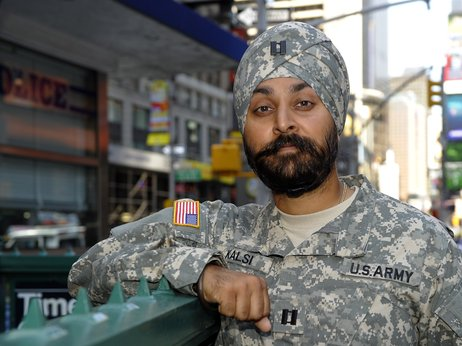 Dr. Kamal Kalsi applied  for permission from the Department of Defense to be able to keep his beard and turban while serving in the Armed Forces. Source: Timothy A. Clary/AFP/Getty Images