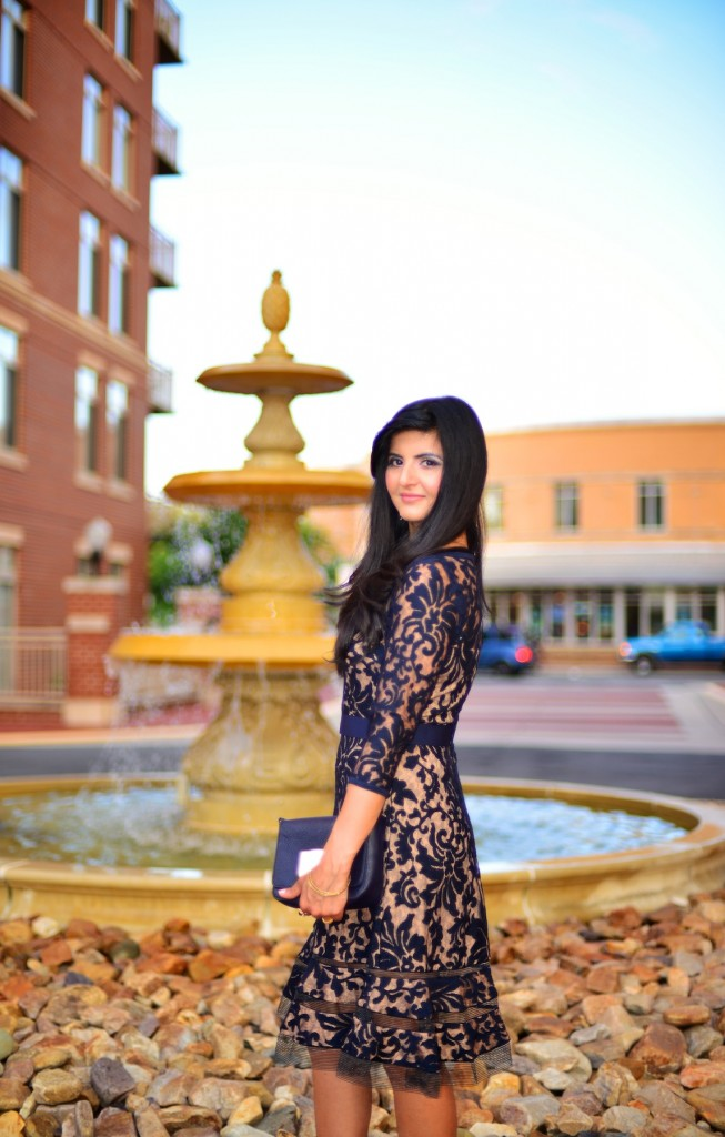 Romantic Evening Affair with Sheer Lace Dress -003
