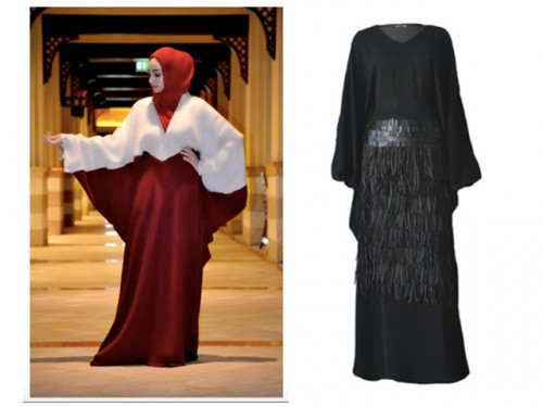 LEFT: Maroon Linen Abaya RIGHT: Black Fringe Abaya