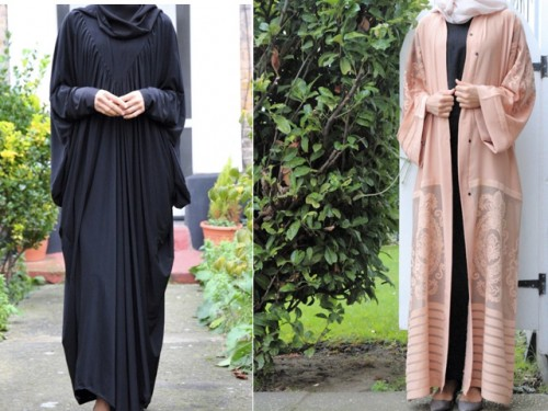 LEFT: Black Batwing Abaya RIGHT: Damask Open Jacket