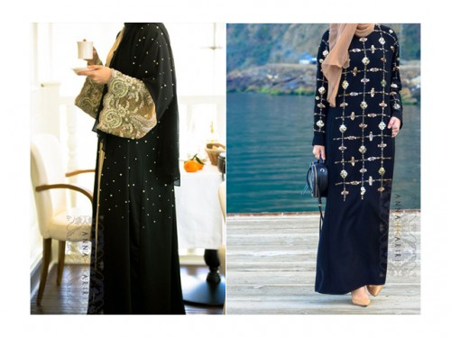 LEFT: Lulu Lace Abaya RIGHT: Abaya Warda