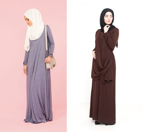 LEFT: Light Denim High Neck Cotton Abaya RIGHT: Deep Brown Drape Abaya
