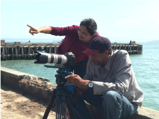 """Harleen Singh and Jeffrey Gary, director of photography, shooting """"Drawn Together."""""""