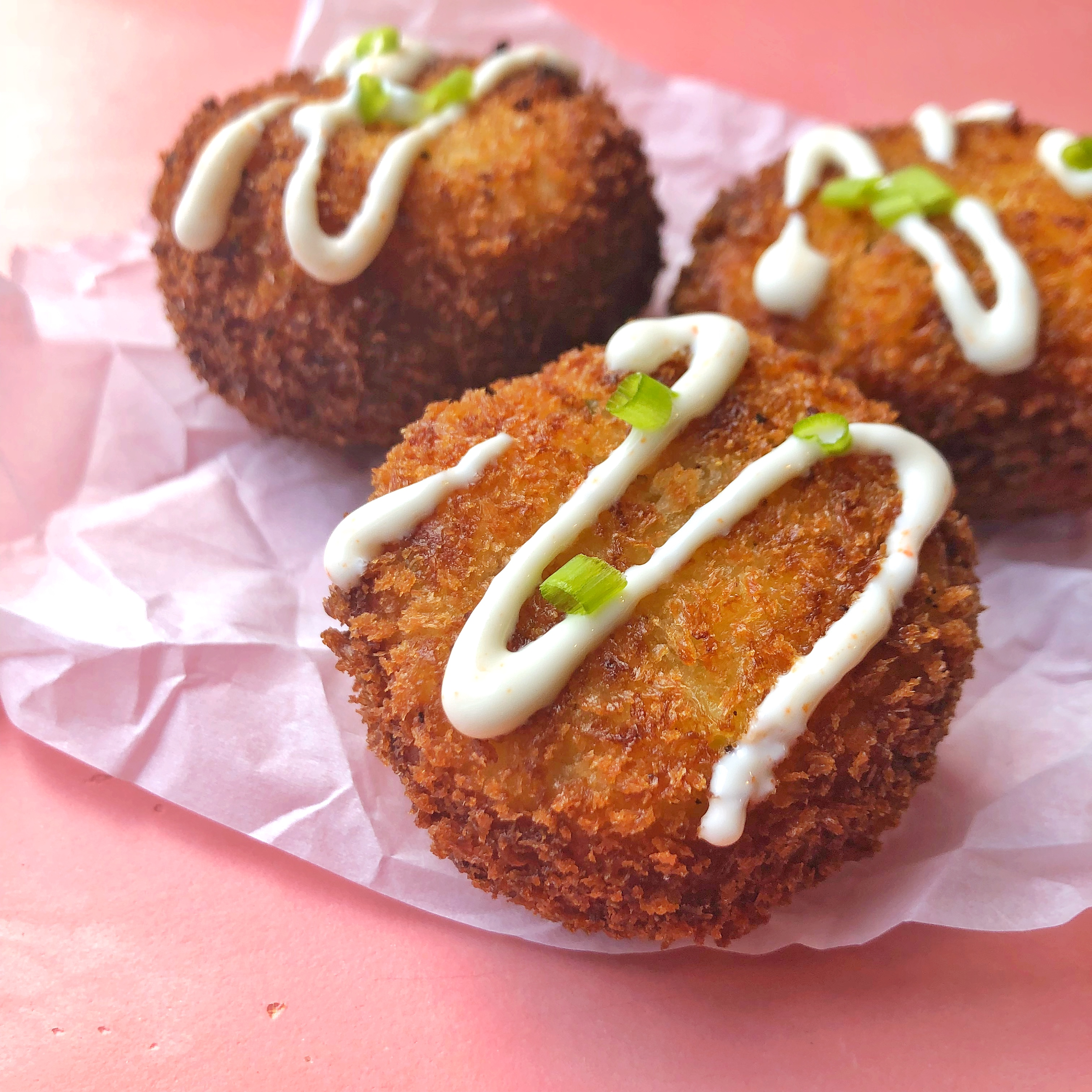 Loaded Mashed Potato Balls with Chili Honey Sour Cream
