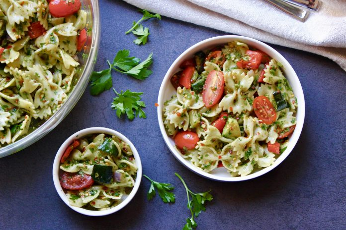 Grilled Vegetable Chimichurri Pasta Salad