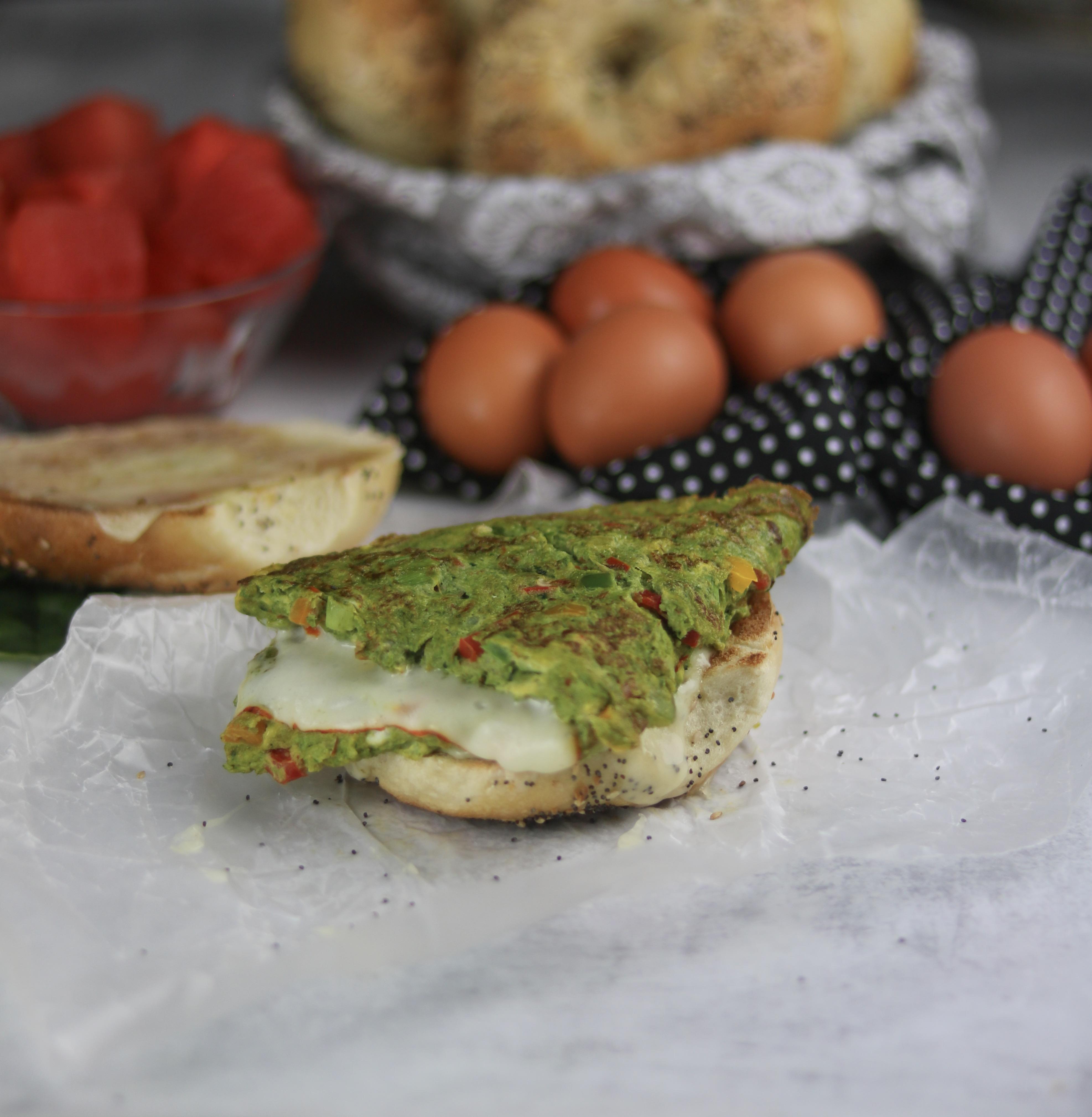 Breakfast is Served: Green Eggs & Cheese Breakfast Bagel
